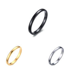 2MM Tungsten Carbide Steel Band Women's Wedding Ring Size 6-11 Silver/Gold/Black