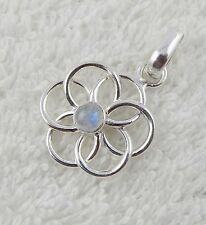Natural Fire Rainbow Moonstone 5mm Cabochon Gemstone 925 Sterling Silver Pendant