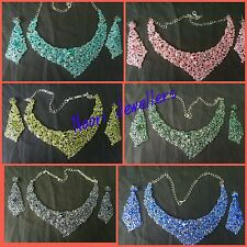 New Indian Bollywood Costume Jewellery Necklace And Earrings Set silver Tones