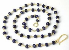 """925 Sterling Silver 24k Gold Plated 18"""" Long Blue Sapphire Corundum Faceted"""