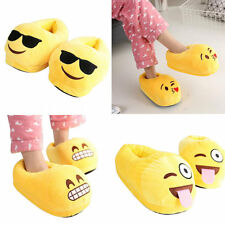 Unisex Cartoon Emoji Antislip Indoor Winter Warm Shoes Plush Slippers Yellow
