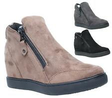 WOMENS LADIES CONCEALED HEEL WEDGE SNEAKERS FLAT ANKLE BOOTS SHOES TRAINERS SIZE