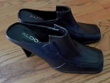ALDO Ligarda Blk Leather Slip on Clogs Mules Womens Shoes Size Eur 38 US 7 / 7.5