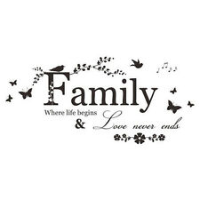 Family Love Quote Butterfly Nature Wall Art Vinyl Decal Sticker Transfer. 1206
