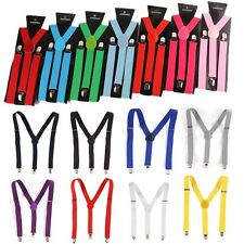 Womens Mens Fashion Clip-on Suspenders Adjustable Y-Shape Elastic Braces Colors