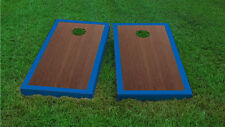 Premium Blue Border Rosewood Stained Cornhole Board Game Set