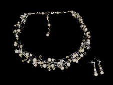 PEARL & CRYSTAL CHOKER NECKLACE & EARRING SET, WHITE or IVORY COLOURS, AUST.