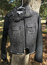 CELEBRITY PINK New Black Mixed Media Studded Jacket-NEW WITH TAGS