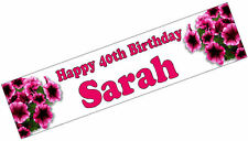 PERSONALISED BANNER NAME AGE PHOTO BIRTHDAY PARTY flowers 50th 60th 70th pink P2