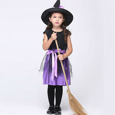 Vogue Witch Costume Girls Kids Fancy Dress Halloween Cosplay Devil Outfit