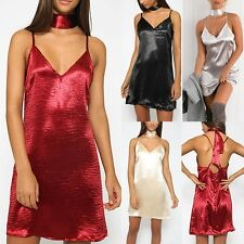 Summer Womens Casual Strappy Satin Cocktail Halter Slip Short Mini Party Dress