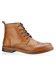 Red Tape Clarendon Tan Mens All Leather Brogue Lace Up Ankle Boots