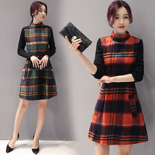 Hit Color New Fashion Korean Autumn Long Section Plaids Stitching Slim Dress
