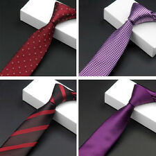 Men Fashion Stripe Floral Houndstooth Solid Thin Skinny Ties Neckties Red/Purple