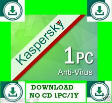 Kaspersky Antivirus FOR 1PC 1YEAR 2016 and 2017  European Union Download no CD