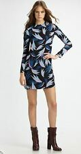 $350 NWT DIANE von FURSTENBERG Ingrid Long Sleeve Printed Georgette Dress 10 12