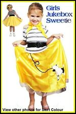 Grease SANDY Yellow Poodle Skirt COSTUME Rock Roll 50s Bopper Party CHILDS 3 szs