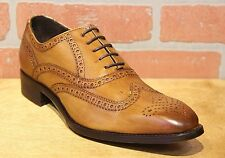Calzoleria Toscana Men's Oxford Chestnut Leather Wing Tip Dress Shoe 5290