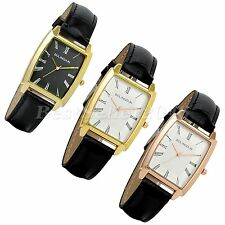 Fashion Men's Classic Square Dial Stainless Leather Analog Quartz Wrist Watch