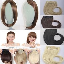 US Real Thick Straight Bang Clip in on Fringe Hair Extensions Human Hairpiece k6
