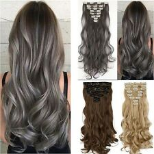 Full Head 18clips Clip in on Hair Extensions Real thick as human hair 8pcs F77