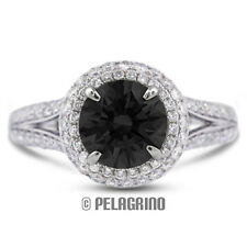 3.21ct Black Ideal Round Natural Diamond 18kw Split Band Engagement Ring 3.82mm