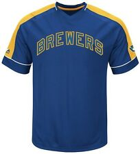 Milwaukee Brewers MLB Mens Cooperstown Vintage Hit Jersey Royal Big & Tall Sizes