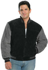 Mens Suede Classic Baseball Bomber Jacket