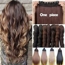 Amazing Full Head Hair Extensions Straight Long Thick Natural as Human Hairpiece