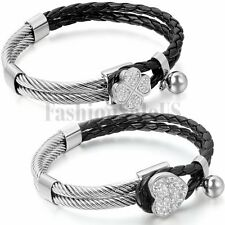 Women's Leather Bracelet Stainless Steel Heart Lucky Clover Charm Clasp Bangle