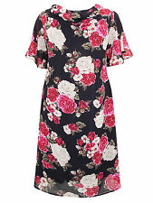 Eaonplus Dress Plus Size 18-32 Lined Chiffon Cowl Neck w scarf Black Pink Floral