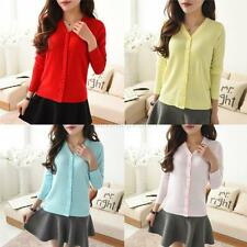 New Women Long Sleeve Knit Cardigan Front Button Down Sweater Outwear Blouse A85