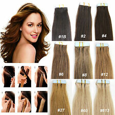 """40pcs 100g Straight Remy Tape in Human Hair Extensions 5A PU Hair Weft 16""""-22"""""""