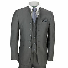 Mens Grey Chinese Grandad Collar 3 Piece Suit Fitted Nehru Jacket Wedding Party