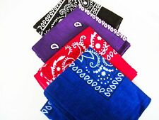 Cotton Paisley Bandana White Design Pattern Neck Scarf Red | Navy Blue | Black