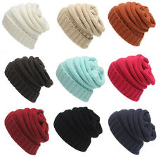Women Beret Beanie Hat Braided Baggy Knit Crochet Ski Cap Winter Warm Cap Skull