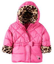 NWT ZeroXposur Leopard Trim Puffer Pink Jacket, Fleece Lined Hooded Baby 18M 24M