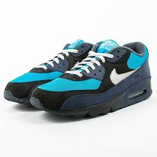 NIKE ID AIR MAX 90 BLACK DARK NAVY LIGHT BLUE SILVER CUSTOMIZED PRE OWNED 2D1