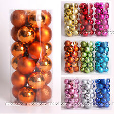 24PCS 60mm Christmas Tree Baubles Plain Glitter Decoration Xmas Ornaments Ball