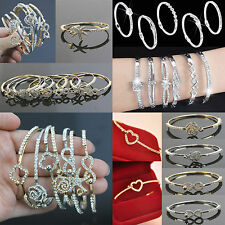 Fashion Women Crystal Rhinestone Love Bangle Silver Plated Bracelet Jewelry Gift