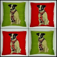 Ruben Jack Russel Cushion Covers Or Complete One Pair Union Jack Dog Scatter
