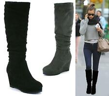 Ladies Black Grey Faux Suede Pull On Zip Sexy Knee High Calf Wedge Slouch Boots
