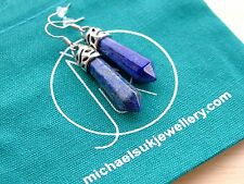 Lapis Lazuli Gemstone Earrings Natural Quartz Crystal Chakra Healing Stone Reiki