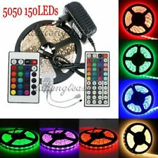 5M 5050 150LED White RGB Flexible Tape Strip Light IR Remote Power Supply DC12V