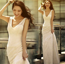 Hot Winter Korean white Long Bridal dress deep V-neck lace bride wedding dress