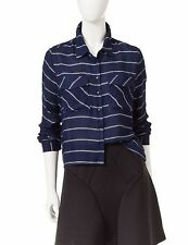 ROMEO & JULIET COUTURE Blue Stripe Woven Blouse/Top-NWT Sizes M & L