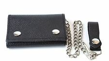 Black Bikers Trifold Chain Wallet Punk, Goth and Bikers Skate Premium Quality