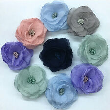 6pcs Big Chiffon Ribbon Flowers Bows Appliques Wedding Craft Mix Lots