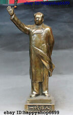 "22"" Folk Chinese Bronze Great Leader Stand Mao Ze Dong Chairman Rise Hand Statue"