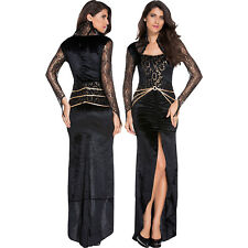Women Deluxe Evil Queen Costume Dress Halloween Role Play Sexy Square Collar